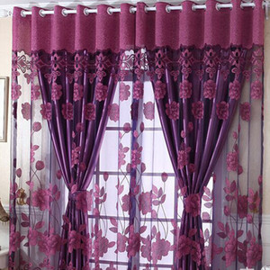 Flower Tulle Door Window Panel Sheer Drape Flower Valance Blackout Cortina Decoración para el hogar Cortinas Niveles para sótano Ojal Elegante
