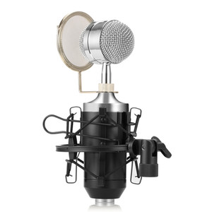BM8000 Professional Sound Studio Recording Condenser Microphone with 3.5mm Plug Stand Holder for Personal Audio Recording KTV BA Shock-proof