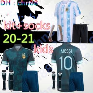 كوبا أمريكا 2020 2021 طفل الأرجنتين لكرة القدم جيرسي الاطفال KITS + الجوارب 20 21 MESSI DYBALA MARADONA AGUERO DI MARIA هيجوين قمصان كرة القدم