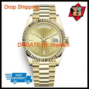 Daydate - Montre de sport professionnelle pour homme - Jour - Date - 40 mm - Cadran en or - Fermoir date - Couronne - Recommandé Nouvelle montre-bracelet automatique