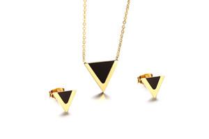 Ensemble de bijoux en acier inoxydable géométrique Triangle européen en verre noir en forme de V