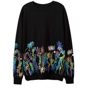 Autumn Winter Hip Hop Hoodies Men Flowers Graffiti Print Pullover Long Sleeve Sweatshirts Streetwear Harajuku Tops Casual Hoodie