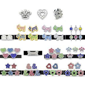 10pcs! Charmes de diapositives de strass en cristal de 8 mm convient au bracelet de bracelet de 8 mm / ceinture / collier d'animaux (5 styles peut choisir) LSSC13-405