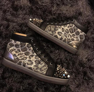 Projeto original de Leopardo Strass Vermelho Inferior Sapatos Sapatos Homens, mulheres Pik Pik Spikes No Limite Fasmous Casual Andando Top Quality Vestido de Casamento