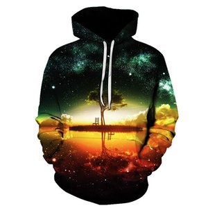 New Style Hiphop Hoodies Galaxy Space 3D Printed Forest Cool Fashion Autumn Sweatshirt Thin Hooded Women Hoodie MX200613
