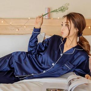 Pigiama da donna in raso di seta pigiama set manica lunga pigiameria pigiama pigiama abito da donna sonno set due pezzi loungewear taglie forti