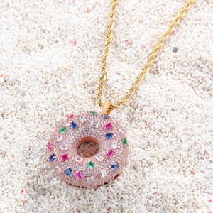 Donut Anhänger Halskette Farbige Zirkon Donut Ornamente Iced Out CZ Stein Halsketten Süße Brötchen Anhänger Männer