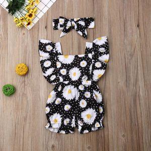 Summer Cute Newborn Baby Girl Sleeve Ruffle Flower Romper Jumpsuit+Headband Outfits Set Girl Clothes Kids Clothes W10