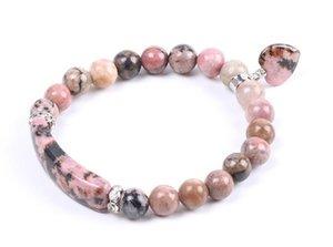 Natural Gem Stone Bangles Line Rhodonite Love Heart Fitting Healing Beads Bracciali con pietre rettangolari per gioielli da donna
