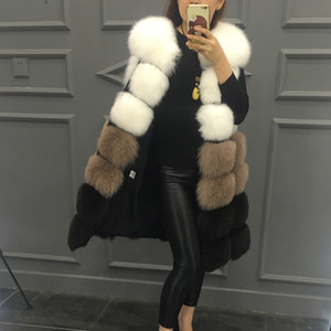 2019 Новая мода шубу женщины высокого искусственного меха жилет куртка смешанные цвета средней длины в стиле Faux женщин пальто