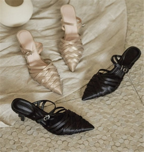 New style women Knit pointed shoes genuine leather silk lady high heel slippers personality abnormal heels shoes free epacket shipping