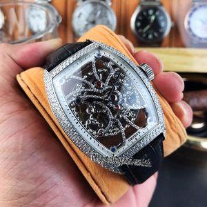 Miglior Nuovo Edition 8880 B S6 SQT D MVT D scheletro quadrante argento con diamanti cassa in acciaio meccanico automatico Mens Watch Cinturino in pelle Sport Watche