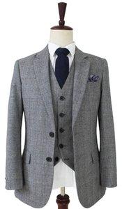 2020 Wool Light Grey Houndstooth Tweed Retro gentleman style custom made Men's suits tailor suit Blazer suits for men 3 piece (Jacket+Pants+