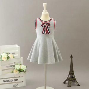 여름 아기 소녀 공주 드레스 달콤한 스트라이프 Bowknot 키즈 코튼 비치 드레스 패션 줄무늬 어린이 휴일 드레스 C6266