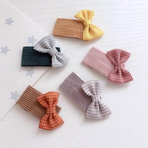 Corea Giappone nuovo tessuto plaid del nodo dell'arco sveglio della clip quadrati per bambini ragazze dei bambini di BB capelli delle forcelle capo di usura Accessori-SWC5