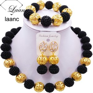 laanc Black Imitation Pearl Beads African JewelrySet 2017 Nigerian Wedding Z6JQ018 Necklace Sets Bracelet Earrings for Womens Y200602