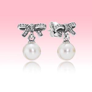 White Pearl orecchino di pendente bello dei monili delle donne di nozze per Pandora 925 Silver Bow Orecchini con la scatola originale