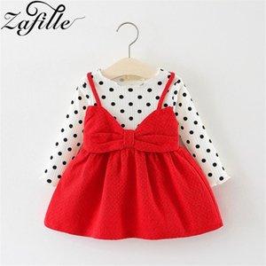 Nudo del arco de la manga de la niña de ZAFILLE largas de la ropa del verano del niño vestido de punto impreso niñas ropa de moda de los niños vestido de princesa Girls