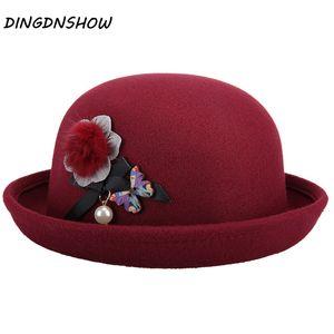 [DINGDNSHOW] 2019 Mode Fedora Hat Laine Bowler Hats Floppy Fleur Hiver Lady Cap femmes