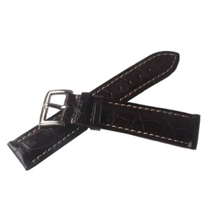 Watchband Brown Alligator Leather Brown with white line stitch Watch band strap waterproof accessories 18mm 19mm 20mm 21mm 22mm pin buckles