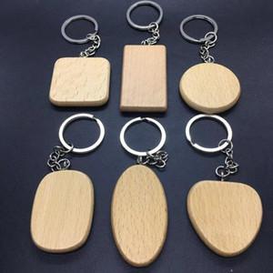Em branco de madeira Chaveiros DIY personalizado gravado Key Madeira pingente anel de Keychain Round Square Heart Shaped Personalizar HHA867