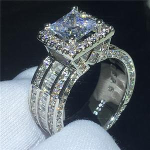 Anello Luxury Court 3ct Diamond Cz Stone 925 Sterling Silver Fidanzamento Fede nuziale anello per le donne uomini gioielli dito regalo