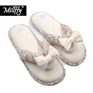 Millffy Summer SPA Thong Slipper pantoufles japonaises florales avec coussinage en mousse à mémoire de forme intérieure et extérieure semelle d'usure