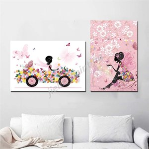 Black And White Girl Butterfly Poster Girl In Car Cartoon Paintings On Canvas Modern Art Decorative Wall Pictures Home Decor
