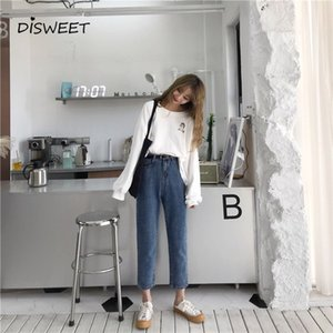 2019 Versión coreana de The Simple High Waist Straight Slim Jeans Ropa de mujer Retro Casual Nine-point Denim Ladies Pantalones