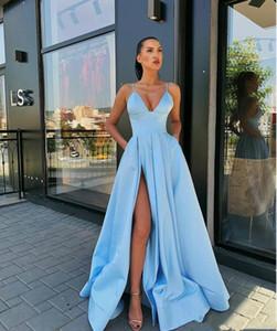 Sexy Cheap A Line Prom Dresses Spaghetti Straps High Side Split Satin Floor Length Pleats Formal Dress Evening Gowns Ogstuff robes de soiree