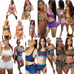 Women designer swimsuit halter push up top bra Tank + shorts briefs 2 piece bikini set Sexy swimwear Outfits girls bath swimming suit D7202