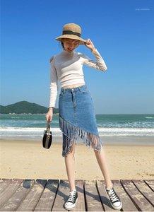 Designer de Verão Alta cintura de uma linha Pacote Hips Saias Mulheres Moda OL irregular saia de Womens Tassel Denim Fishtail Skirt
