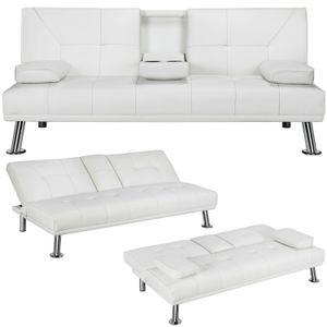 Modern Futon Sofá-cama de couro falso Convertible estilo moderno Sala Loveseat