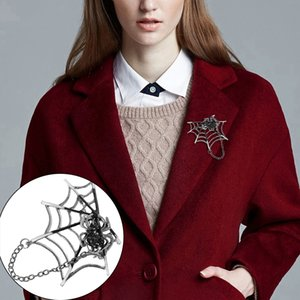Émail Black Spider Punk Rock Spiders Brooches Web broche en forme de collier Corsage Pull clip Animal Magnets Broches Pins