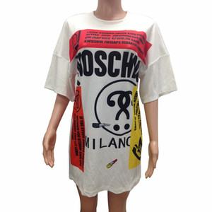 Vestido de camiseta de moda para mujer Camisa de manga corta Mini vestidos de costura Casual Camisetas largas Vestido de verano blanco Ropa de mujer S-2XL