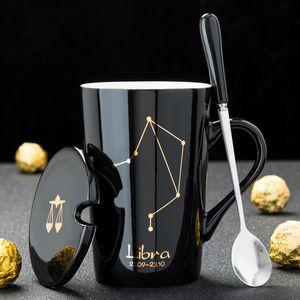 12 constellations tasse à café en lait en céramique avec couvercle de cuillère tasse en céramique zodiacale en porcelaine noire et dorée 420ML