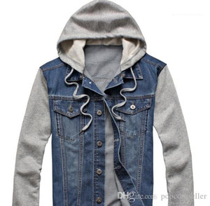 Jacket Hooded Long Sleeve Patchwork Color Detachable Coats Fashion Single Breasted Male Clothing Mens Spring Designer