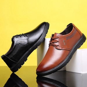 MEN'S SHOES Summer Casual Trendy Shoes Flat Formal Wear Leather Shoes Men England Korean-style round-Toe Shoe