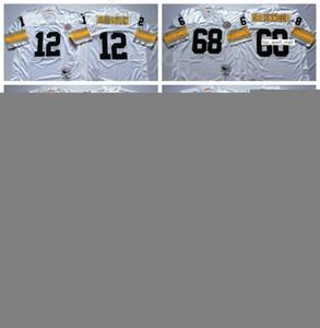 NCAA Futbol 12 Terry Bradshaw Jersey 68 L.C Greenwood 59 Jack Ham 88 Lynn Swann 95 Greg Lloyd Siyah Beyaz Erkekler Vintage Dikiş Iyi
