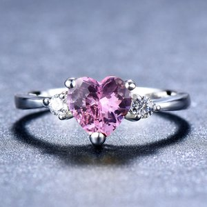 Female Girls Pink Red Purple Heart Ring Fashion Augest Birthstone Finger Ring Promise 925 Silver Love Engagement Rings For Women