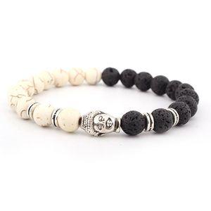 الحمم جميلة bracelts حجر 8MM استيراد البيضاء الفيروز أساور أنيقة الأسود حبات الحجر البركاني رأس بوذا سوار