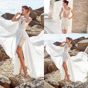 2020 Новый артистический Короткие Line свадебное платье со съемными юбка шнурка Аппликация рукавов Пляж Свадебные платья Свадебные платья плюс размер