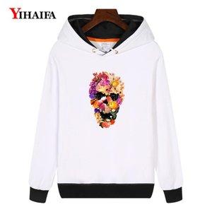 Cráneo YIHAIFA mujeres camiseta de Kpop sudaderas Harajuku impreso floral suéter flojo de invierno polar con capucha gruesa capa Tops