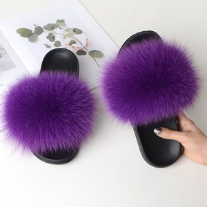 COOLSA новые женские повседневные меховые шлепанцы из натурального меха лисы сандалии Леди пушистые слайды женские плюшевые плоские тапочки Дорожная обувь