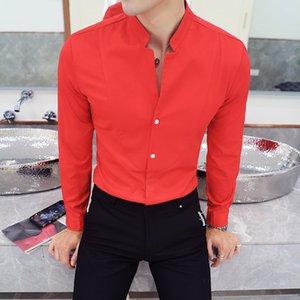 2020 Nova Moda Outono Marca Vestuário Slim Fit Homens camisa de manga longa Work Party vestido de camisa social Plus Size M-5XL