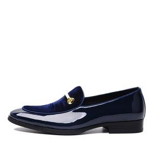 Sıcak Satış-Sipriks Lüks Erkek Düğün Mavi Smokin Ayakkabı Patent Deri Siyah Moda Erkekler Için Elbise Ayakkabı Kayma Patron Asansör Marka