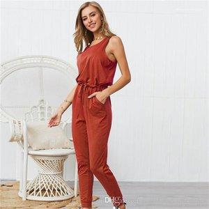 Короткие рукава Strappy Комбинезон сплошной цвет моды Crew Neck Famale вскользь Rompers женщин Designer Summer