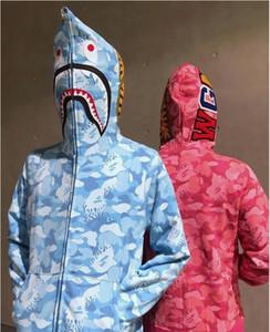Yeni desen 2019 erkek tasarımcı hoodies Gevşek Pembe Mavi kamuflaj baskılı hırka ceket patchwork Tam Zip Hoodie APE beyaz klasik logo