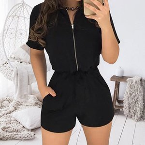 Sexy Zipper Short Sleeve Stitching Shorts Bodysuit Playsuit Casual Solid Color Women Jumpsuit Sexy Shorts Rompers T200704