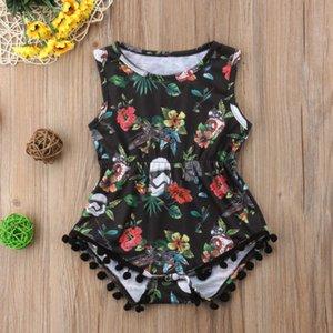 Boy Girl Cotton bebê recém-nascido Bodysuits Floral mangas Tassel Jumpsuit da criança One-Pieces playsuit Childern roupas Outfits